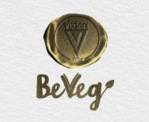 Global Vegan Certification Symbol by BeVeg. The logo for plant-based food safety and sustainability. Represents sanitary products and conditions uncontaminated by animals. No cross contamination.