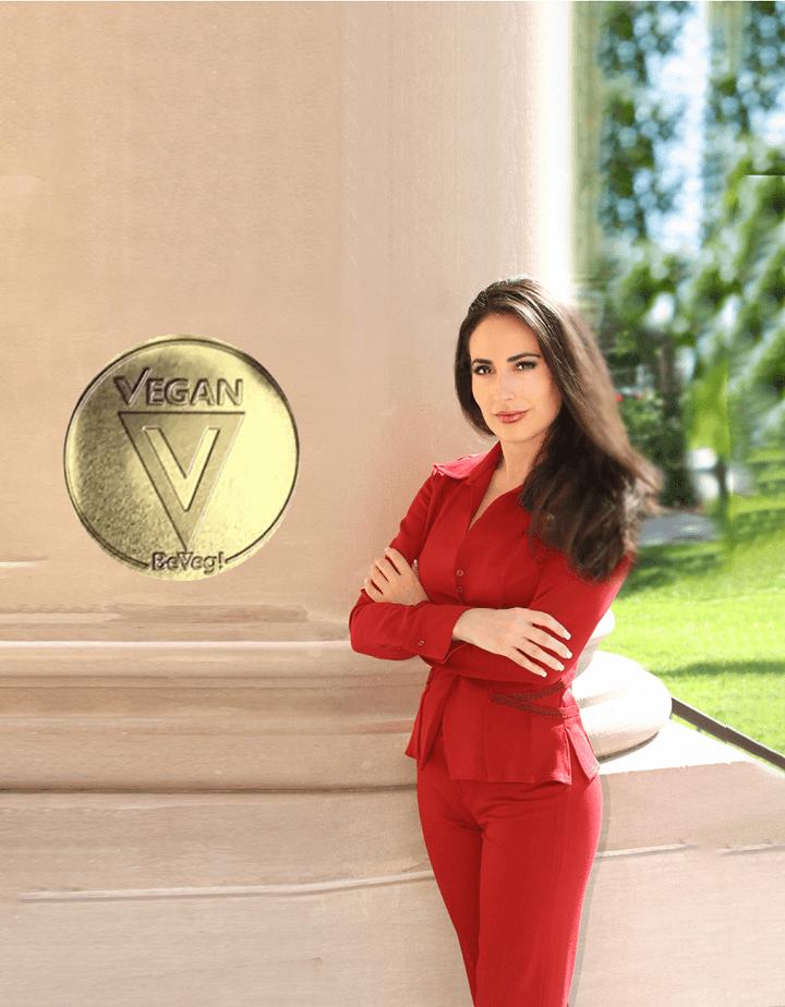Carissa Profile Photo with BeVeg Vegan Logo Gold-Stamp-Logo