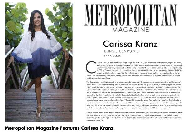 Carissa Kranz featured in Metropolitan Magazine