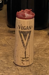 BevVeg Vegan Certified Symbol on Priam Vineyards Wine Cork. Alcohol Brands that Pass the BevVeg Vegan Certification Process Earn the Right to Use the BevVeg Vegan Symbol on their Packaging.